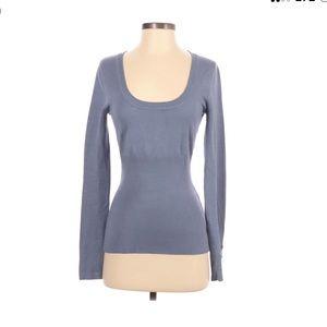 PattyBoutik scoop neck sweater blue S
